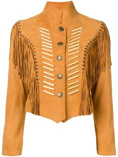 Camel-coloured suede fringed jacket from JESSIE WESTERN featuring a stand-up collar, a press stud fastening, long sleeves, rounded stud embellishments, an asymmetric hem and a fitted style. White Christmas Outfit, Westerns, Fringe Crossbody Bag, Fringe Jacket, Soyeon, Western Outfits, Jessie, Style Me, Women Wear