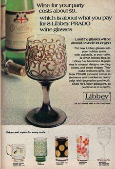 1971 Libbey Prado WinE Glass Promo Ad ~ Golden Foilage Cups/Summertime Tumblers