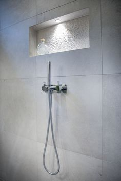 Shower Niche with wall mounted shower arm- Designed & Built by Simply Bathroom Solutions #niche #shower #bathroom #design #bathroomideas