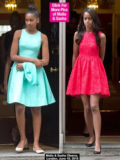 Malia & Sasha Obama Rock Vibrant Summer Dresses In London — Pic