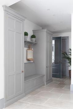 Boot Room / Hallway - Humphrey Munson - Weybridge Project Broad house, but how wide? Hallway Cupboards, Hallway Storage, Mudroom Laundry Room, Laundry Room Design, Boot Room Utility, Ikea Utility Room, Utility Room Storage, Bench Storage, Utility Room Designs