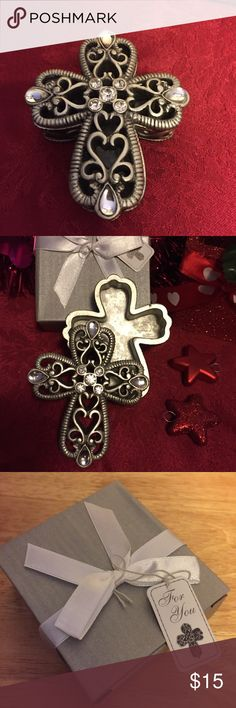 """💥💥Flash Sale- Cross Curio Box Cross design Curio Box from Fashioncrafts Heavenly favors collection✨this is a sturdy silver/pewter finish poly resin, two pieces3"""" x 3""""x 1"""" Box . Solid filigree Base and removable cover with multiple rhinestone accents and filigree swirl details. Packaged for elegant presentation and I silver satin finish box wrapped and tied with a white satin ribbon and bow finished with an attached angel themed """"for you"""" tag. Stunning favor for all occasions, and holds…"""