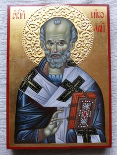 St. Nicholas icon hand painted by ArtByChimevi on Etsy,