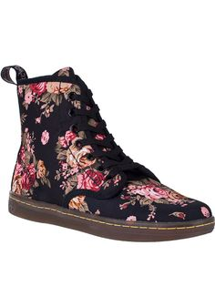 doc martens boots | ... martens shoreditch ankle boot black floral fabric shop all dr martens