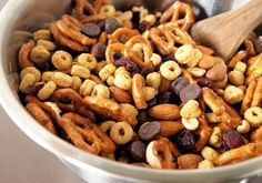 Sweet & Salty Snack Mix: substitute peanuts, add less pretzels.