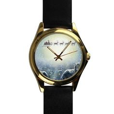 Popular Father Christmas with Reindeer in the Sky Unisex -tone Round Leather Metal Watch -- Quickly view this special  product, click the image : Travel Gadgets