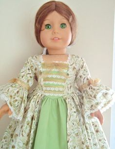 """AG Felicity's """"Golden Forest"""" Colonial Gown, for Felicity and Elizabeth Floral Print Fabric, Floral Lace, Floral Prints, How To Make Bows, How To Wear, Shades Of Gold, Green Cotton, Dress Making, Colonial"""