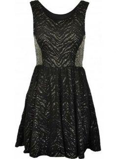 Black and Gold Glimmered Skater Dress #Black #Gold #Glimmer #lace #sequinned #Skater #ustrendy