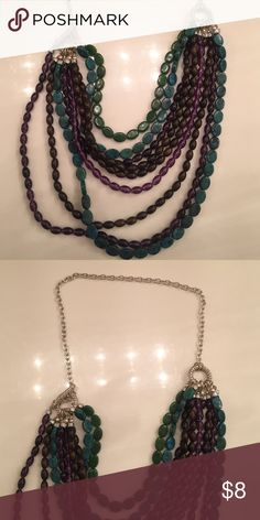 Ladies multi layer beaded necklace Ladies multilayer beaded necklace with turquoise purple and green beads silver chain unique design Jewelry Necklaces