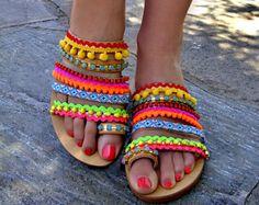 Boho Sandals Flamingo Beach / Pom Pom Sandals /