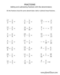 √ Adding and Subtracting Fractions with Like Denominators Worksheets Pdf . 26 Adding and Subtracting Fractions with Like Denominators Worksheets Pdf . Fractions Worksheets Grade 4, Free Fraction Worksheets, 4th Grade Fractions, Free Printable Math Worksheets, Free Printables, Fraction Games, Fraction Art, Learning Fractions, First Grade