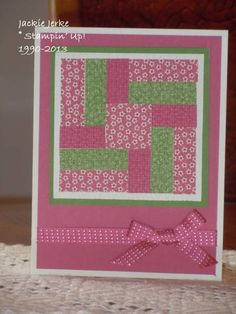 handmade quilt card: Bitten by the Quilt Card Bug!! by JJ Rubberduck ... beautifu lprints in dusty pinks with a splash of green ...