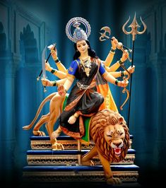 Navratri Puja will help you overcome all your negativities. Flourish with wealth on this Navratri by offering Homam to Lakshmi, Saraswathi & Durga. Lord Durga, Durga Ji, Saraswati Goddess, Kali Goddess, Shiva Parvati Images, Durga Images, Ganesh Images, Shiva Shakti, Durga Maa Pictures