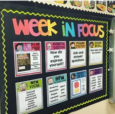 By request, I am sharing my editable focus wall. When creating this focus wall, I wanted to create something that was easy to keep up with, kept all the important focuses for the week in one place, and looked good in my room! New Classroom, Classroom Setting, Classroom Displays, Classroom Design, Classroom Organization, Classroom Ideas, Kindergarten Bulletin Boards, Classroom Management, Behavior Management