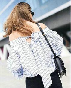 2016 Summer Off shoulder Slash neck Striped Shirt Seersucker Pullover blouses Women chemise blusas shirt tops vetement camisa