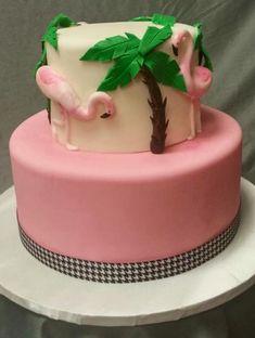 Pink Flamingo and Palm Tree Cake Palm Tree Cakes, Palm Trees, Birthday Snacks, Birthday Cake, Birthday Ideas, Specialty Cakes, Pink Flamingos, Cake Designs, Gingerbread
