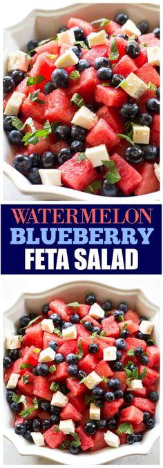 Blueberry Feta Salad Watermelon Blueberry Feta Salad is a unique combination that tastes amazing!Watermelon Blueberry Feta Salad is a unique combination that tastes amazing! Healthy Salad Recipes, Gourmet Recipes, Healthy Snacks, Healthy Eating, Feta Salat, Watermelon Recipes, Watermelon Salad, Summer Salads, Summertime Salads