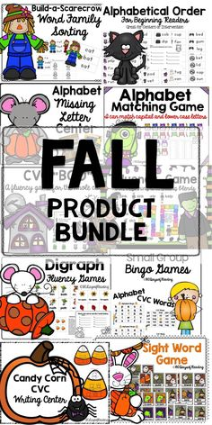 Halloween and Fall themed games and activities for ELA.