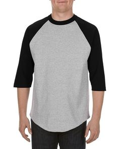 Athletic Heather/Black (90% Cotton + 10% Polyester) - 1334 Alstyle Classic Adult 3/4 Raglan Tee
