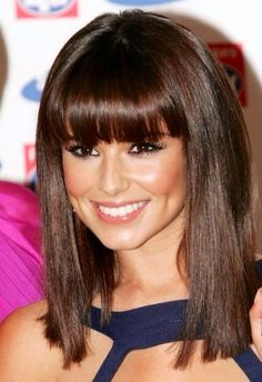 Medium length with bangs on a round face shape