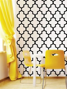 Trellis Pattern by WALLTAT Patterned wall in the office, yellow and bold