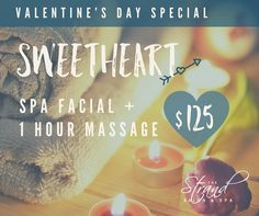 Spa facial and one hour massage for $125 with the Valentine's day special at the Strand Salon & Spa in Columbia, MO. Valentine Day Special, Valentines Day, Day Spa Specials, Strands Salon, Spa Promo, Skin Care Specialist, Spa Facial, Massage Business, Estheticians