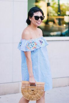 5 Reasons Why You Need This Embroidered Striped Off the Shoulder Dress for the Summer, Cult Gaia Ark Bag, Dress for under $50, Summer Fashion, Summer Style