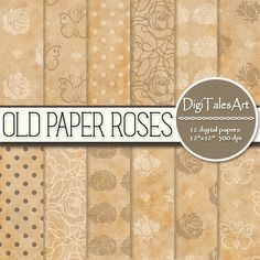 """Floral digital paper """"Old Paper Roses"""". Old paper digital pack with roses, butterflies and dot patterns.  Perfect for scrapbooking, making cards, invitations, collages, crafts, web graphics, and so much more. Digital paper pack by DigiTalesArt."""