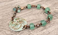 Bohemian brass patina waterlily  bracelet  by WinterBirdStudio