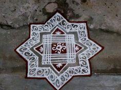 Rangoli Designs Diwali, Kolam Rangoli, Simple Rangoli, Padi Kolam, Bohemian Rug, Dots, Blouses, Flowers, Home Decor