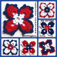 Fireworks Crochet Coaster Pattern PDF -  Fast to Make - Patriotic Holidays. Looks good in any three colors, not just red, white and blue.