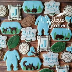 Woodland boy baby shower cookies