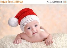 15% SALE 6 to 12m Red Baby Hat Christmas Photo Prop Santa Hat, Pom Pom Beanie Christmas Gift, Crochet Christmas Hat Christmas Elf Hat