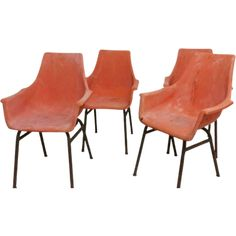 Set of 4 egg shall chairs Overall height 85 cm Seat height 42 cm Width 54 cm