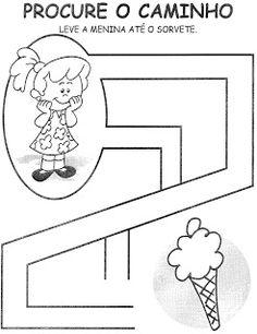 Meus Trabalhos Pedagógicos ®: Coordenação motora Kids Learning Activities, Summer Activities For Kids, Infant Activities, Teaching Kids, All About Me Preschool, Preschool Math, Kindergarten Worksheets, Maze Worksheet, Dots Game