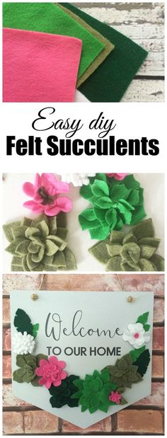 Easy faux succulents made of felt. Tips to cutting felt fast, making lots of succulents in a short amount of time.  Easy, simple, and cute!