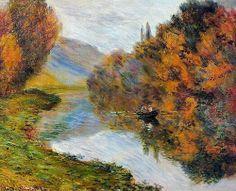 Barque sur la Seine à Jeufosse (C Monet - W 915), 1884