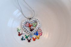 Glass locket necklace with Disney's Mickey Mouse Ears in 4 birthstone crystals (you choose the months) in cz heart glass fillable pendant