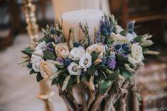Λαμπάδες γάμου με τριαντάφυλλα, λεβάντα και στάχυα