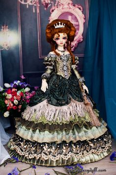 CherryDoll European style Arcane princess dress bjd green fancy court