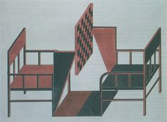 Rodchenko chair chess tables for workers club exhibition 1925