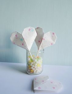 DIY Craft: Origami Heart Valentines with lollipops inside!