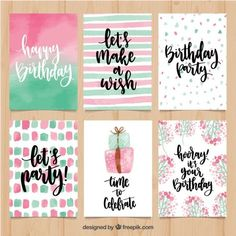 Pretty watercolor birthday greetings set Free Vector Pretty watercolor birthday greetings set Free Vector The post Pretty watercolor birthday greetings set Free Vector & Happy birthday cards appeared first on Free . Creative Birthday Cards, Handmade Birthday Cards, Happy Birthday Cards, Diy Birthday, Birthday Greetings, Card Birthday, Birthday Ideas, Birthday Outfits, Vintage Birthday