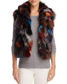 ADRIENNE LANDAU Multi Color Fox Fur & Rabbit Fur Vest. #adriennelandau #cloth #vest