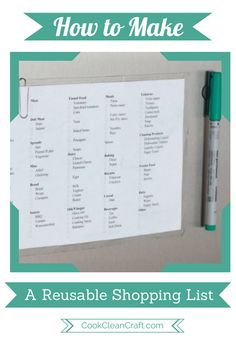 Are you sick of writing your shopping lists on scraps of paper? Create a DIY reusable shopping list. Added bonus, it prompts you to buy the products you regularly need. #hobohomeimprovementcenter