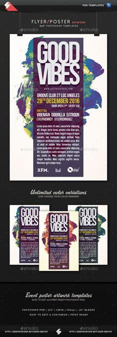 Good Vibes 4 - Party Flyer Template PSD. Download here: http://graphicriver.net/item/good-vibes-4-party-flyer-template/15312198?ref=ksioks