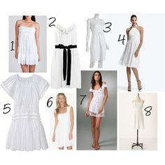 white sundresses, created by isolatedcolor on Polyvore