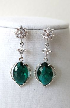 Emerald Glass Marquise Earrings, Silver Cubic Zirconia Earrings, Bridesmaid, Bridal Jewelry, green garden weddings, Nature Jewelry, www.glitzandlove.com