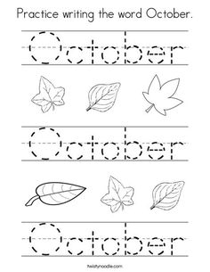 Practice writing the word October Worksheet - Twisty Noodle Kindergarten Calendar, Homeschool Kindergarten, Preschool At Home, Pre K Worksheets, Alphabet Worksheets, Kindergarten Worksheets, Toddler Learning Activities, Learning Time, Kids Learning