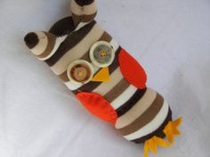 Plush Toy Sock Owl in Browns and White by AsYouWishCreations4u